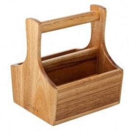 Houten bakje menagere kruiden/olie/sausjes 145x130mm