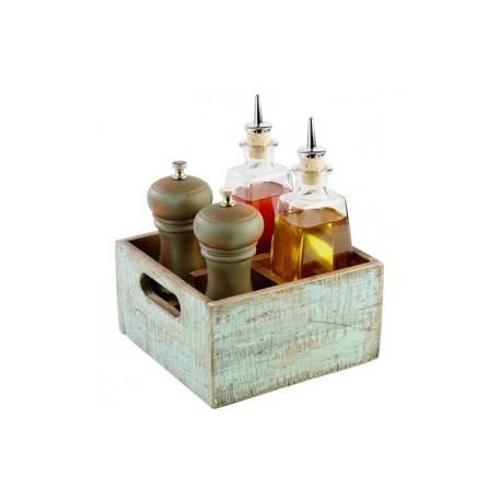 Vintage Houten bakje 4 verdelingen 170x170xH10mm turqoise