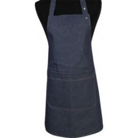 Schort met bavet L80x75cm 2 zakken jeans blauw