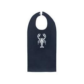 Kreeftbavet zwart/ivoor geborduurd H53xB37cm