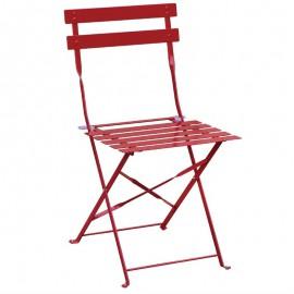 2stuks stalen opklapbare stoelen rood