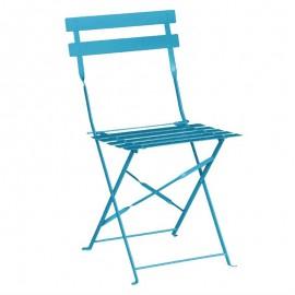 2x stalen opklapbare stoelen turquoise