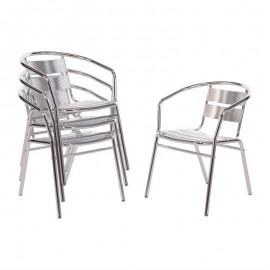 Bolero stapelbare aluminium stoel (4 stuks)