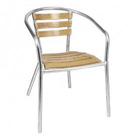 Bolero aluminium en essenhouten stoelen met armleuning (4stuks)
