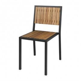 4 Stuks stalen en acaciahouten stoelen zonder armleuningen