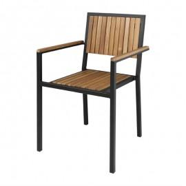 4 Stuks stalen en acaciahouten stoelen met armleuningen