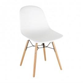 2 Stuks polypropyleen stoelen met houten poten wit