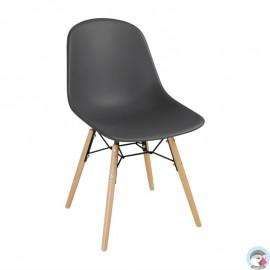 2 Stuks polypropyleen stoelen met houten poten grijs