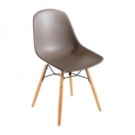 2 Stuks polypropyleen stoelen met houten poten bruin