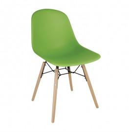 2 Stuks polypropyleen stoelen met houten poten groen