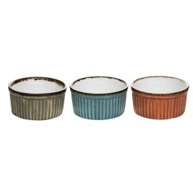 BRISBANE RAMEKIN 3 ASS D8,8XH4,4CM BLUE-GREY-ORANGE